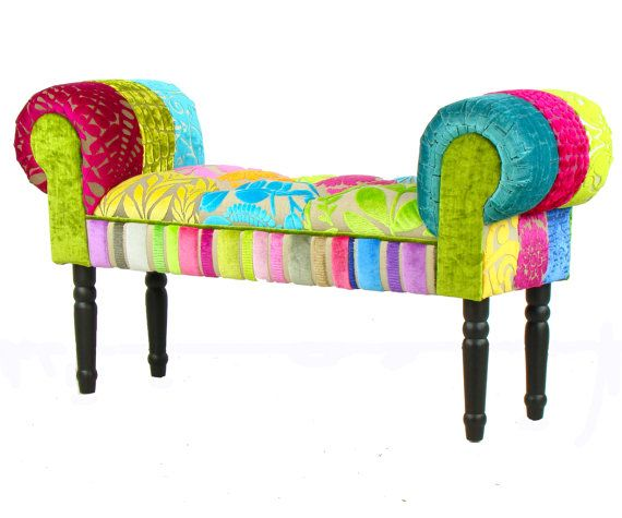 Bespoke patchwork chaise longue stool window seat - Designers guild telas ...