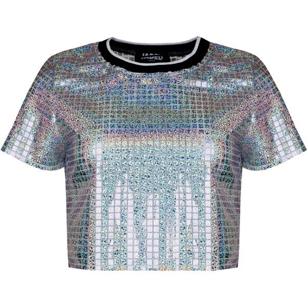 74abeb2e Holographic Crop Tee featuring polyvore, women's fashion, clothing, tops,  t-shirts, shirts, holographic t shirt, shirt crop top, crop shirts, tee- shirt and ...