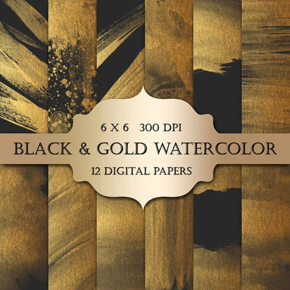 Gold Watercolor Digital Papers black & gold by ItGirlDigital