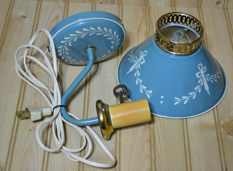 Vintage Metal Wall Light Tole Toleware Portable Lamp