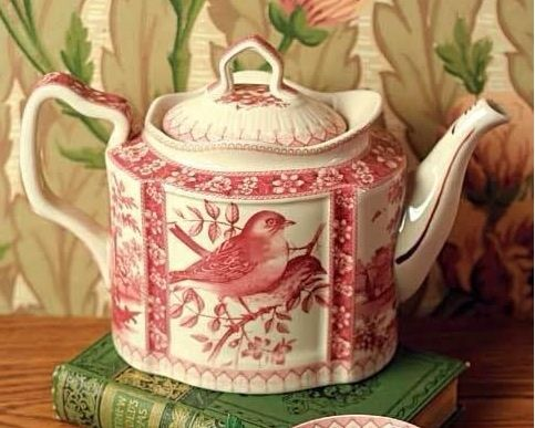Wonderful red and cream teapot