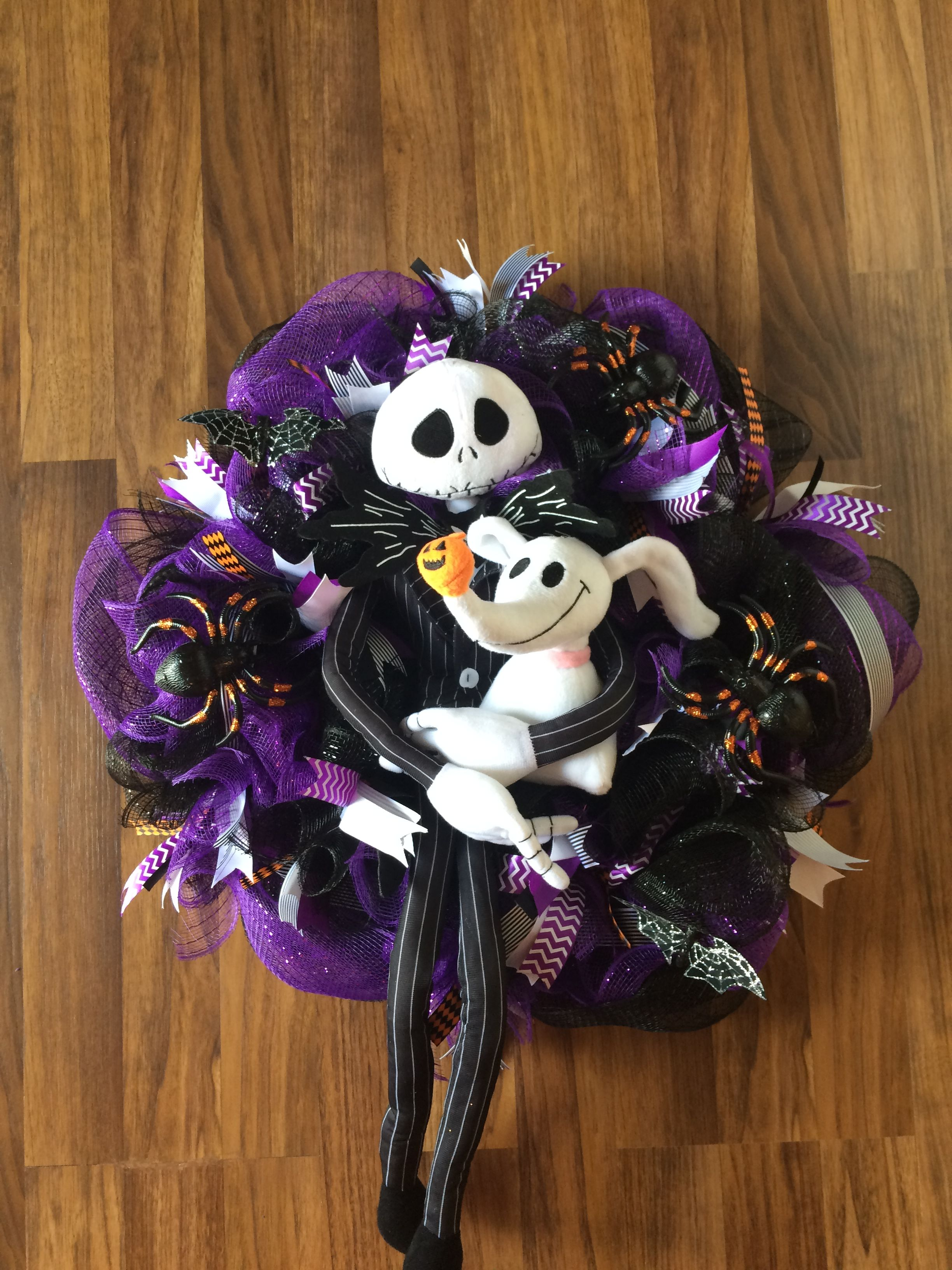Walgreens Christmas 2019 Jack Skellington and Zero wreath using items from dollar tree