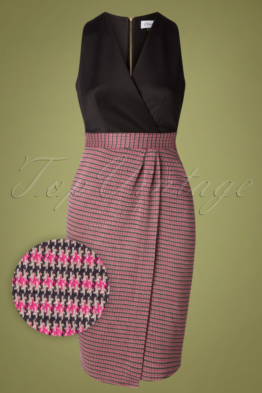 Closet London Amara Houndstooth Dress Années 60 en Noir et Rose