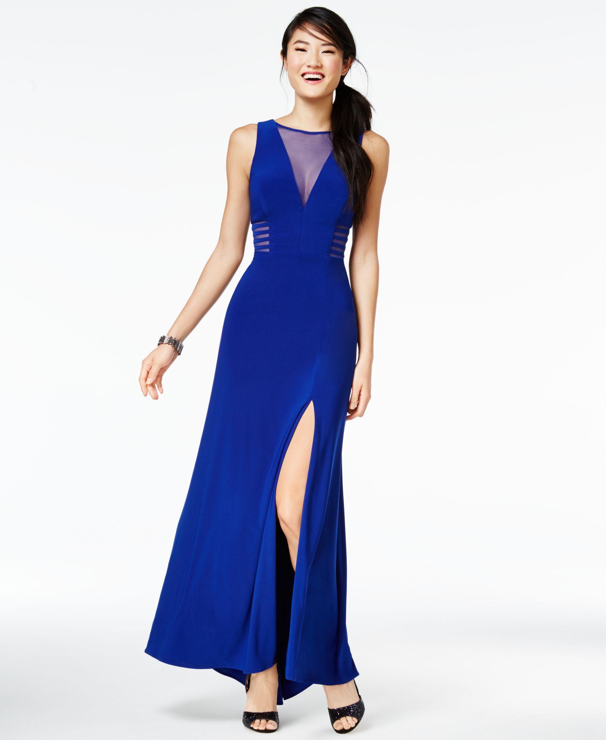 Morgan u company juniorsu illusion frontslit aline gown