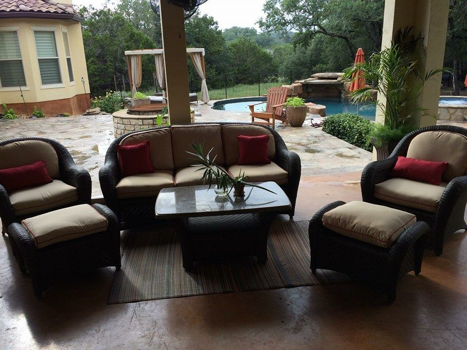 Outdoor Patio Set Recovered By Budget Upholstery San Antonio Texas Outdoor Furniture Sets Outdoor Patio Set Upholstery