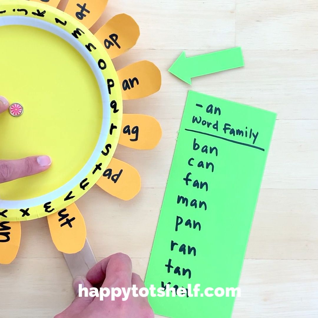 Paper Plate Sunflower Word Family Activity