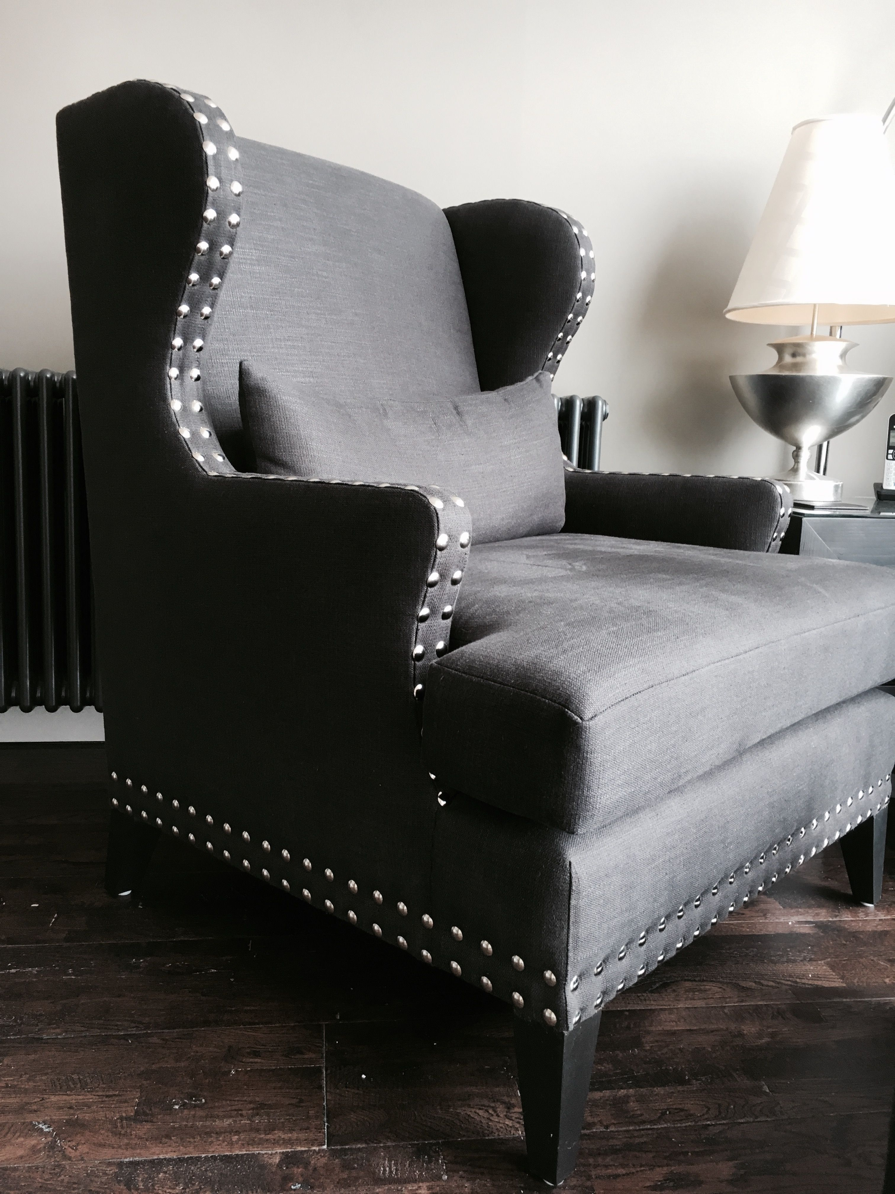 Bespoke Oversized Lounge Chair Featuring Silver Stud Detail U0026 Tapered Solid  Wood Legs.