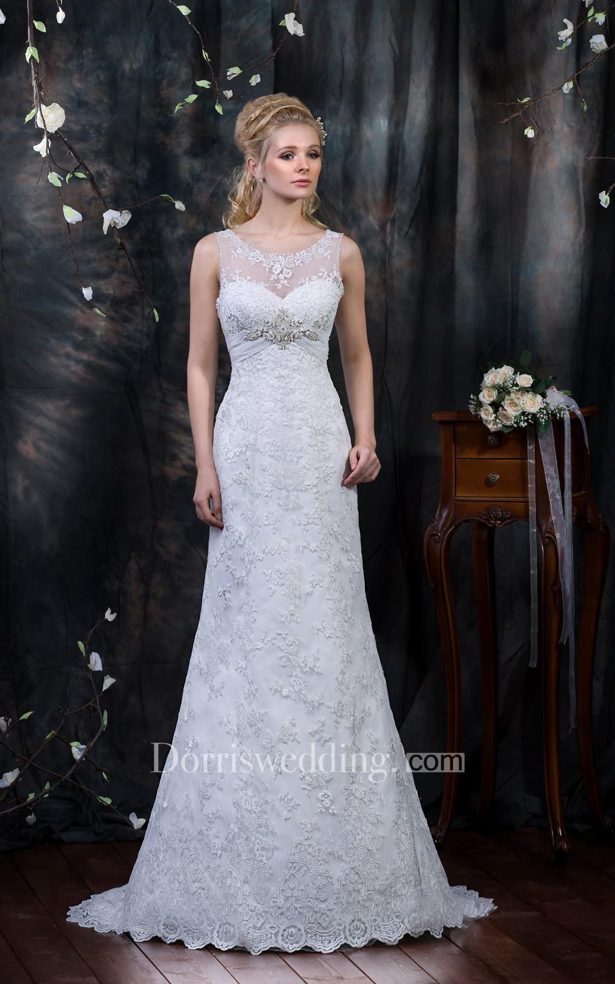 #Dorris Wedding - #Dorris Wedding Sheath Floor-Length V-Neck Sleeveless Low-V-Back Lace Dress With Appliques And Beading - AdoreWe.com
