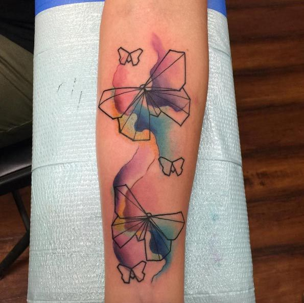 Watercolor Butterfly Tattoos By Jarvis Geometric Watercolor