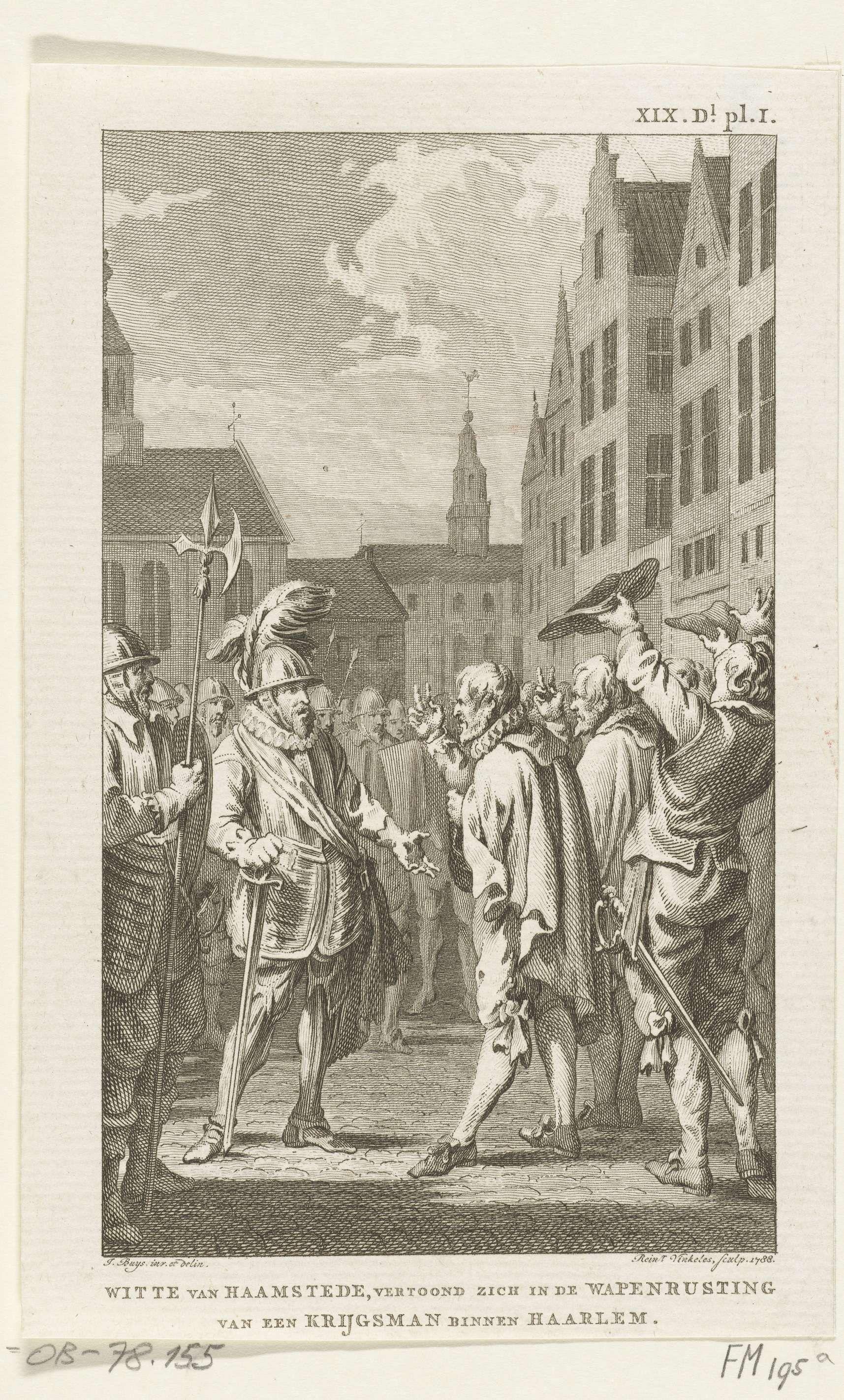 Reinier Vinkeles | Witte van Haemstede te Haarlem, 1304, Reinier Vinkeles, 1788 | De ridder Witte van Haemstede in wapenrusting tussen een menigte personen op te Haarlem. Na de overwinning op en de verdrijving van de Vlamingen in 1304.