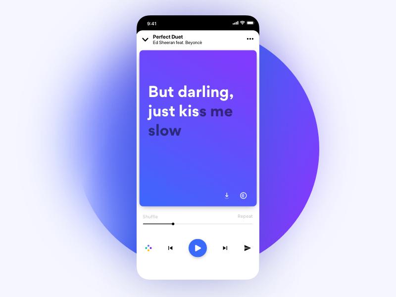 Lyrics Player Redesigned | Ui design