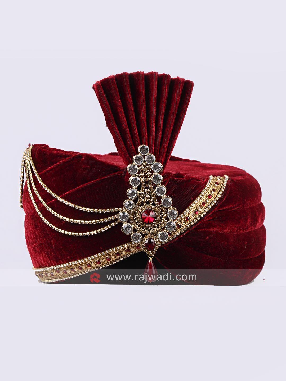 Wedding wear velvet safa with fancy broach rajwadi mensaccessories