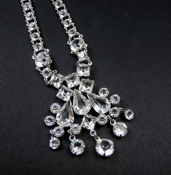 SALE Art Deco Crystal Necklace  Wedding Jewelry Bridal Necklace Prong Set Crystals
