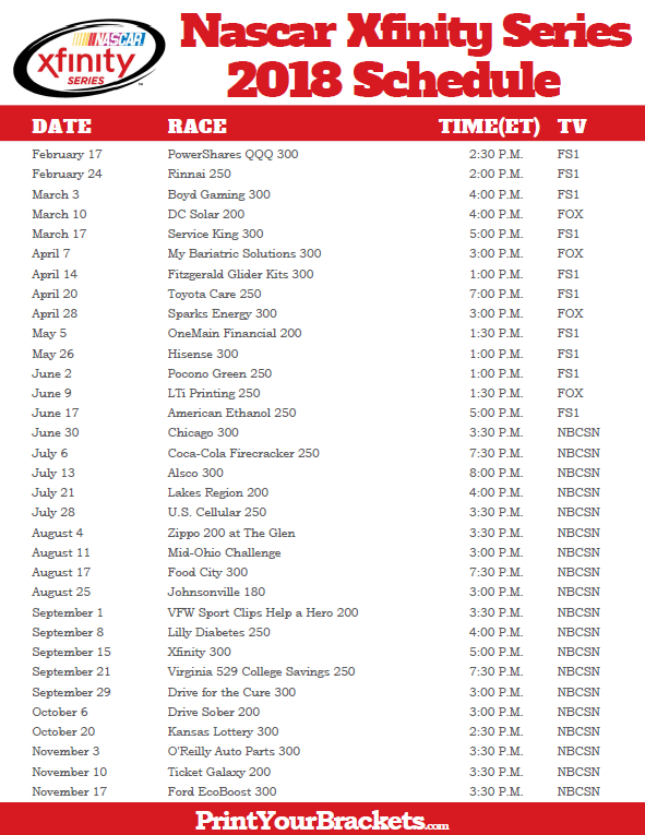 photo about Xfinity Channel List Printable called Printable 2018 Nascar Xfinity Sequence Agenda Nascar