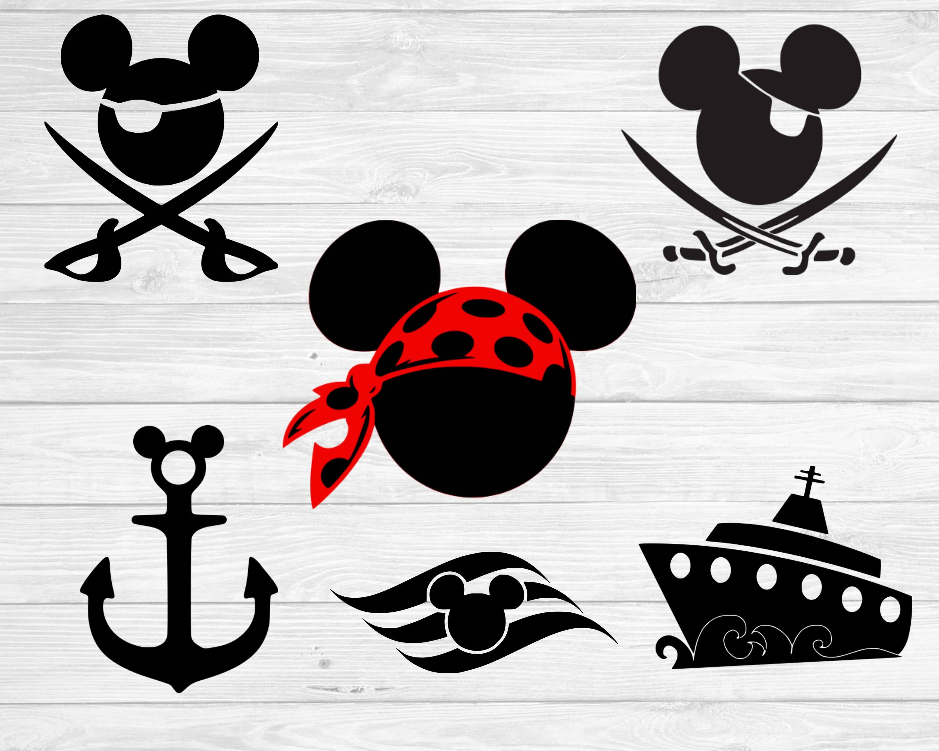Mickey Mouse Pirate Svg Mickey Anchor Svg Disney Cruise Svg