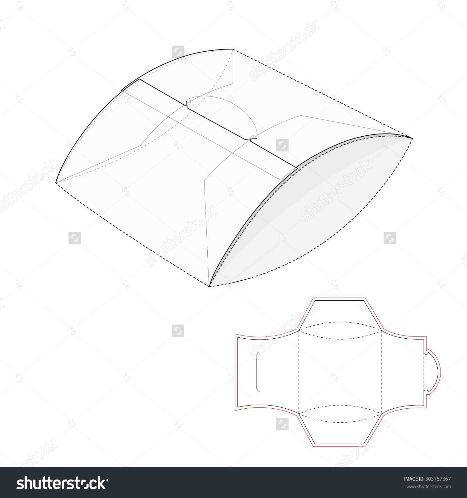 Pillow Package With Blueprint Template Stock Vector Illustration ...