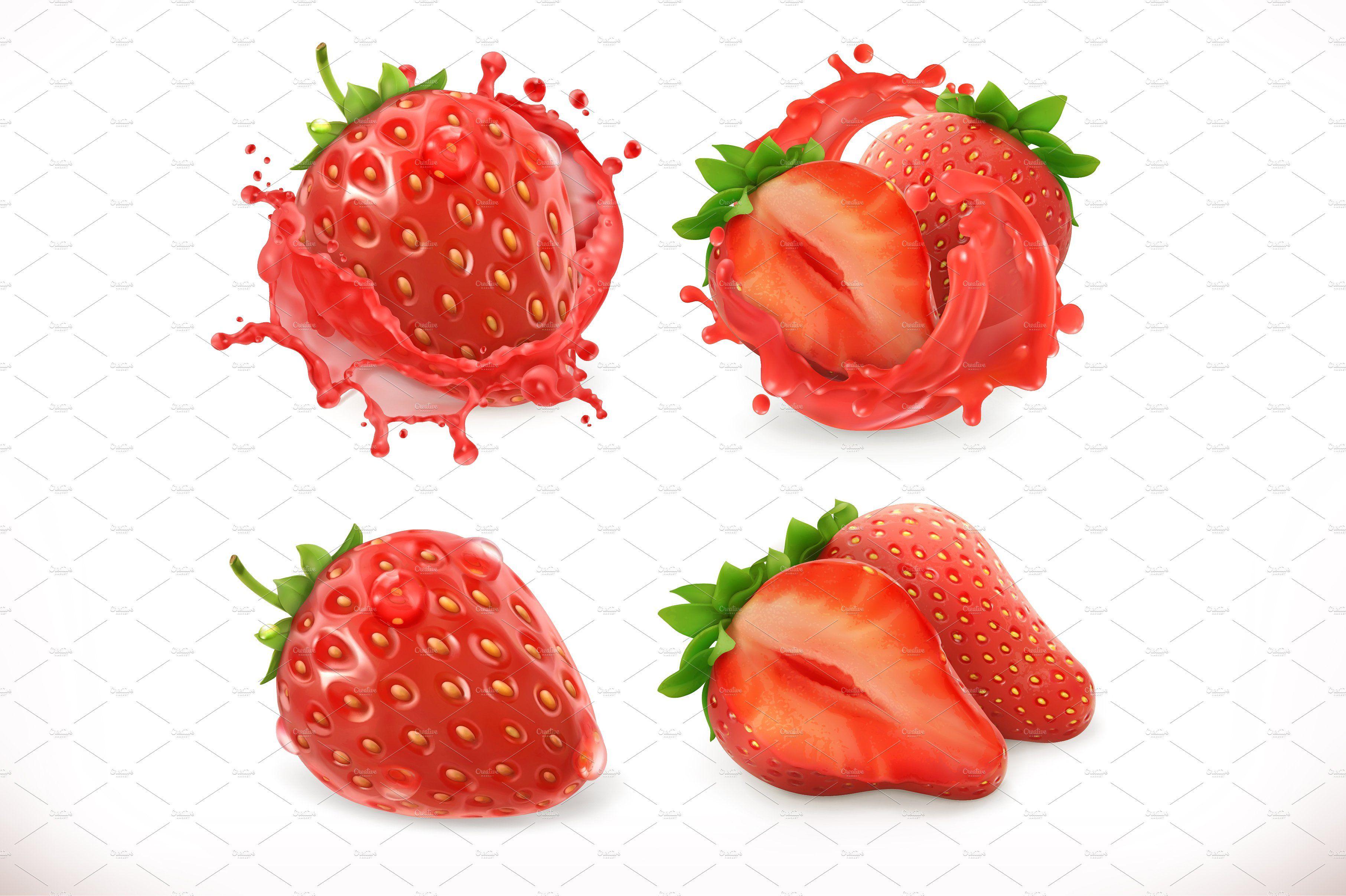 Strawberry Juice 3d Vector Strawberry Juice Strawberry Fresh Fruit