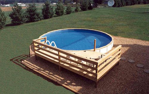 Medallion Pools St Croix Above Ground With Vinyl Siding Partial Wood Deck 2 Backyard Pool Landscaping Pool Landscaping Wood Pool Deck