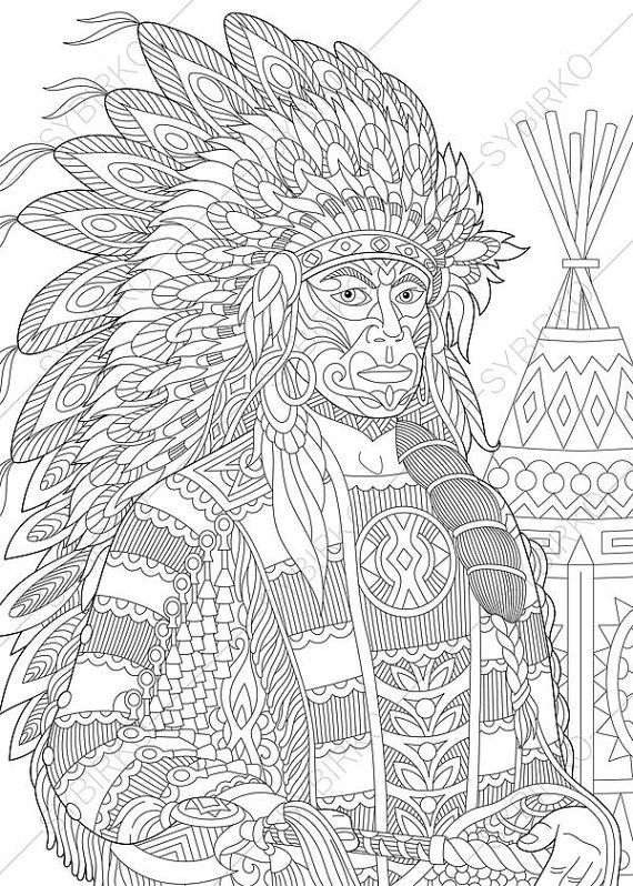 Coloring Pages For Adults Native American Indian Chief Adult Coloring Pages Digital Jpg Pdf Coloring Page Instant Download Print Coloring Pages Coloring Books Adult Coloring Pages