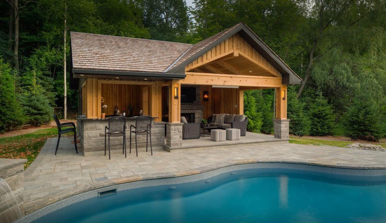 Custom designed cabana and bar by Pool Craft! Poolcraft.ca ...