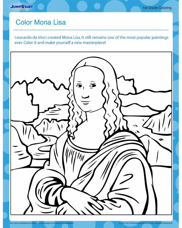 Mona Lisa Coloring Page Art Masterpiece 4th Grade Modern in 2019