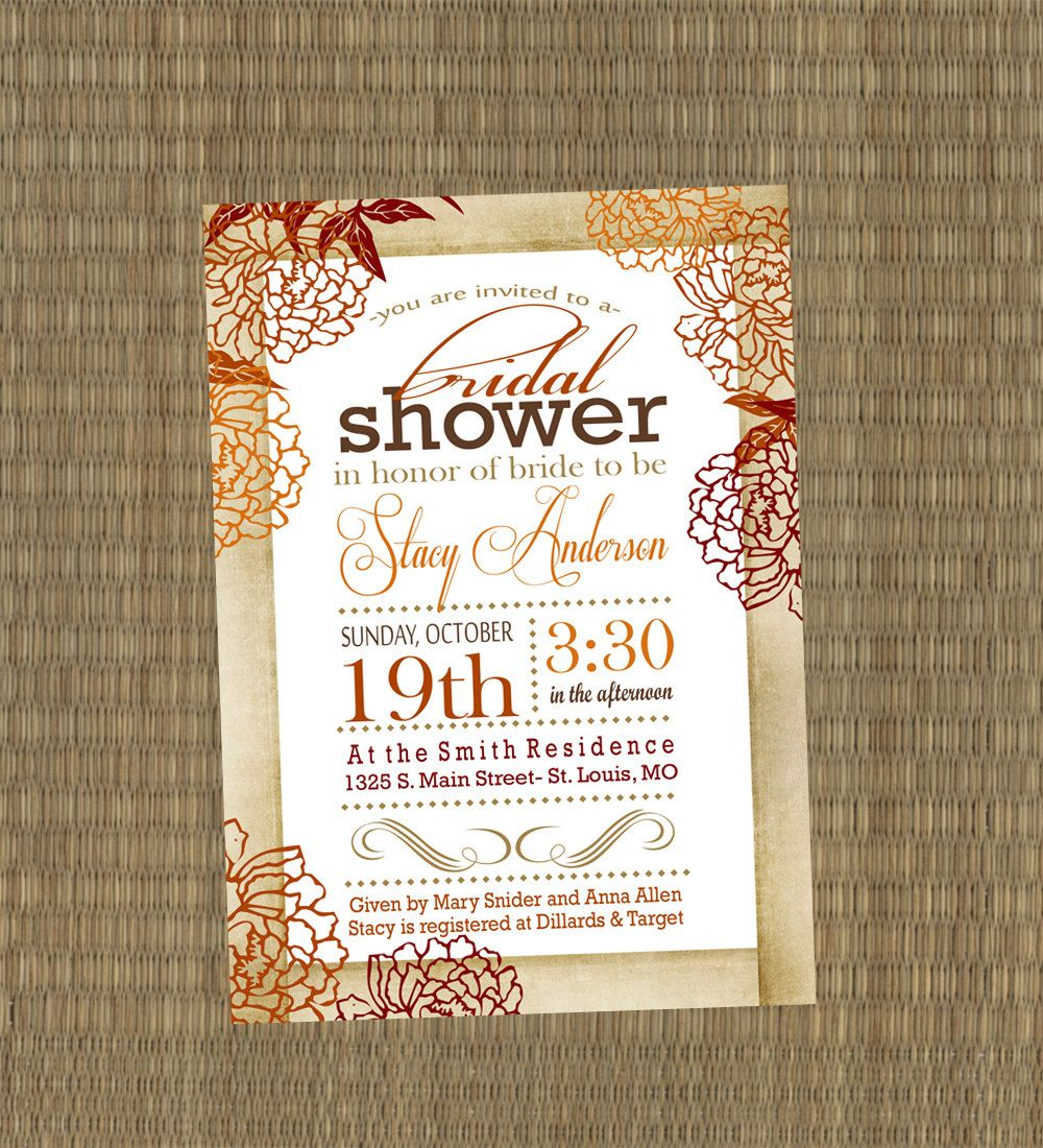Bridal Shower Invitation - Vintage Fall Wedding Shower Invitation ...