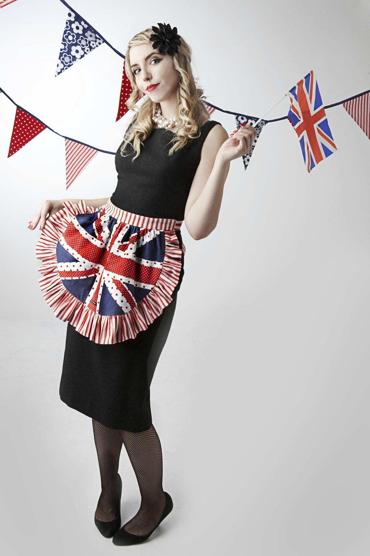 White half apron ruffle uk - Union Jack Half Apron