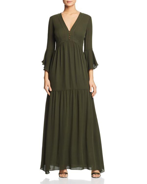 0bf8383c84 Olive Green Cuff Sleeve Surplice Wrap Dress | Clothes | Maxi dress with  sleeves, Cuff sleeves, Dresses