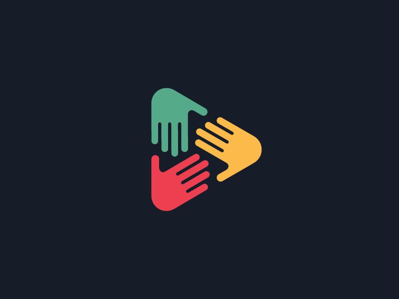 Hands Play Button Digital Media Logo Unity Logo Logo Design Creative