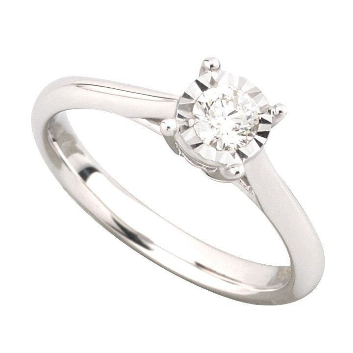 9ct White Gold 017 Carat Diamond Solitaire Ring