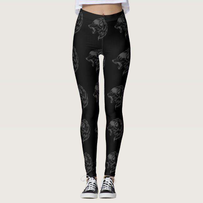 wolf pattern on black background leggings #wolf #pattern #black #background #leggings #leggings - Do...