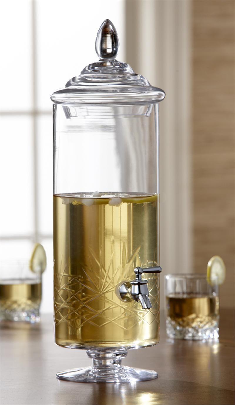 2 Gallon Glass Hand Etched Beverage Dispenser