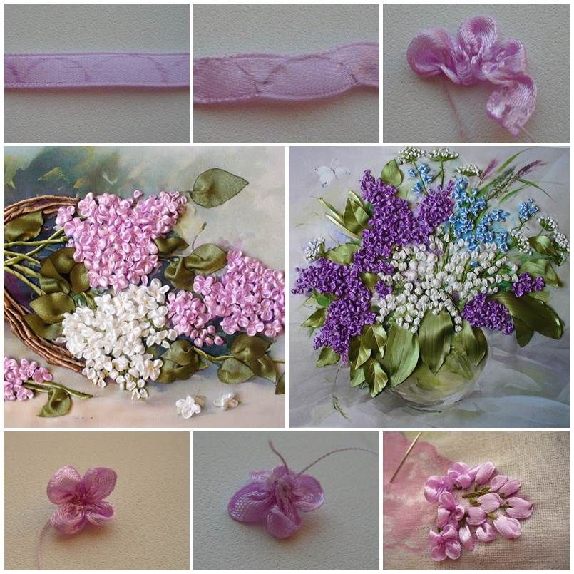 How to make embroidery ribbon lilac flowers lilacs