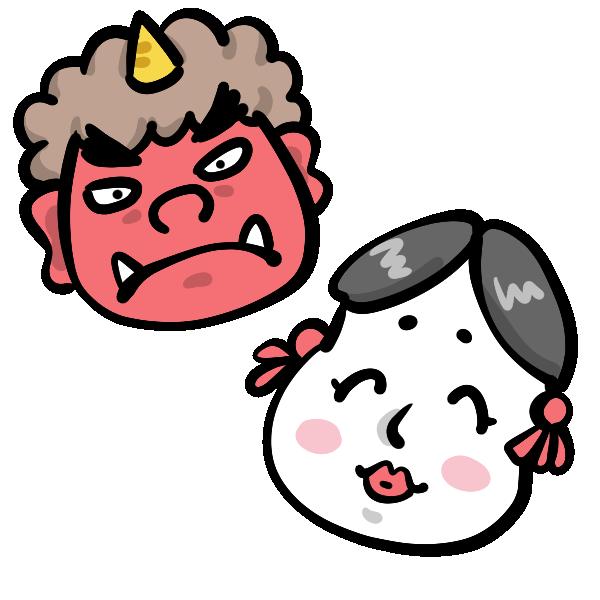 鬼とおかめのイラスト せつぶん節分鬼japanise Demon おかめ