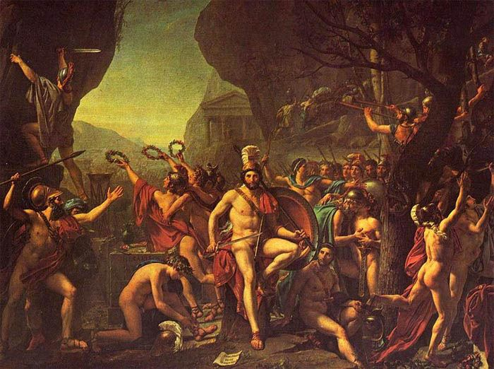Leonidas at Thermopylae, painting by Jacques-Louis David, 1814