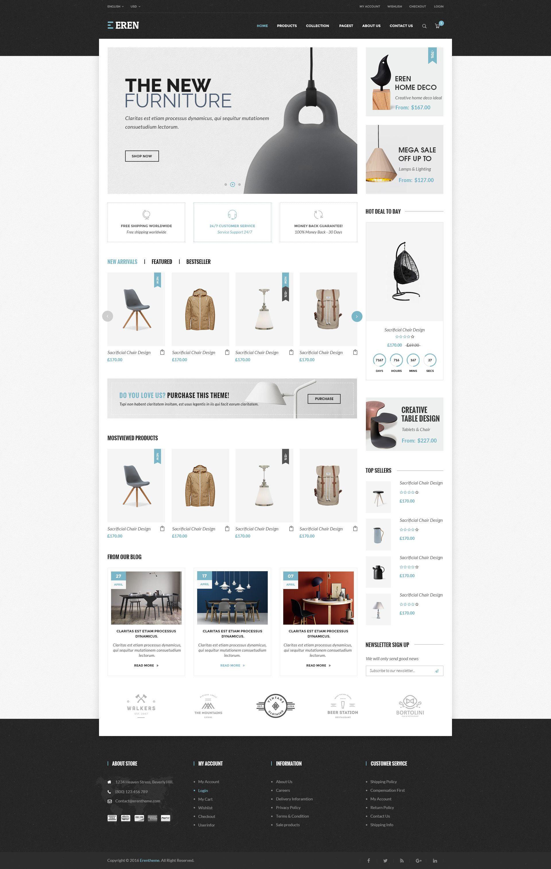 Eren Ecommerce Psd Template By Erendesigner Themeforest Ecommerce Web Design Web Layout Design Ecommerce