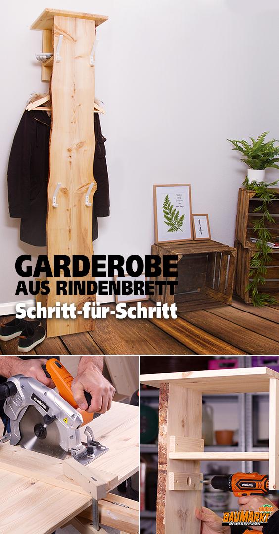 Garderobe Aus Rindenbrett Selber Bauen In 2020 Garderobe Selber Bauen Garderobe Holz Indirekte Beleuchtung Selber Bauen