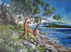Arbutus Paintings - Hillside Arbutus by Corinne Orazietti