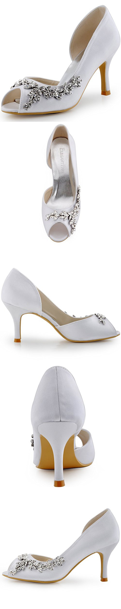 d998eb288933 ElegantPark HP1542 Women Peep Toe Rhinestones Pumps High Heel Satin Wedding  Bridal Dress Shoes White US 11