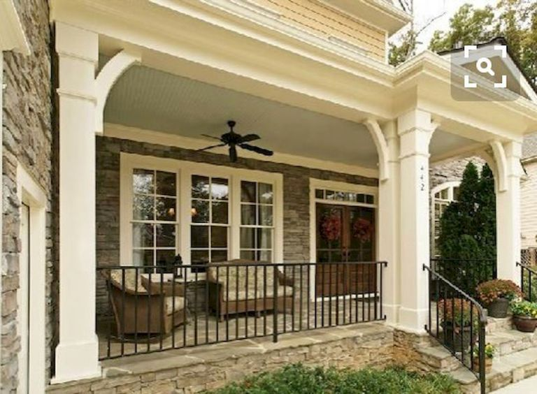 Paint Wrought Iron Railing Black Replace Wrought Iron Columns With Standard Square Columns Porch Design Front Porch Design Porch Remodel