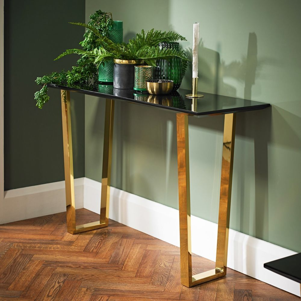 Glass Console Table Black Polished Gold Legs Hallway Living
