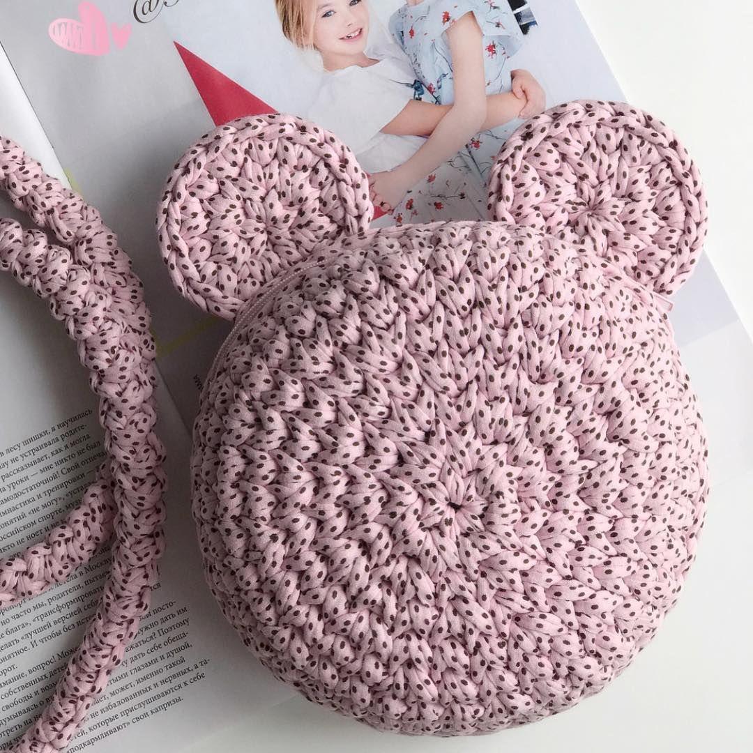 Сумочка для маленькой принцессы от @fairycrochet  Трикотажная пряжа Biskvit ( моника) #crochethandbags