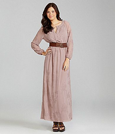 LOVE the dress and the belt. Chelsea & Violet Belted Embroidered Maxi Dress | Dillards.com