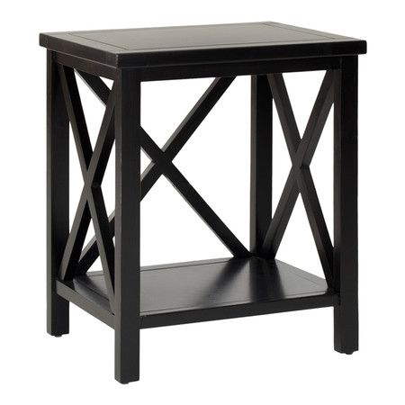 Black Poplar Wood End Table With Open Criss Cross Panels