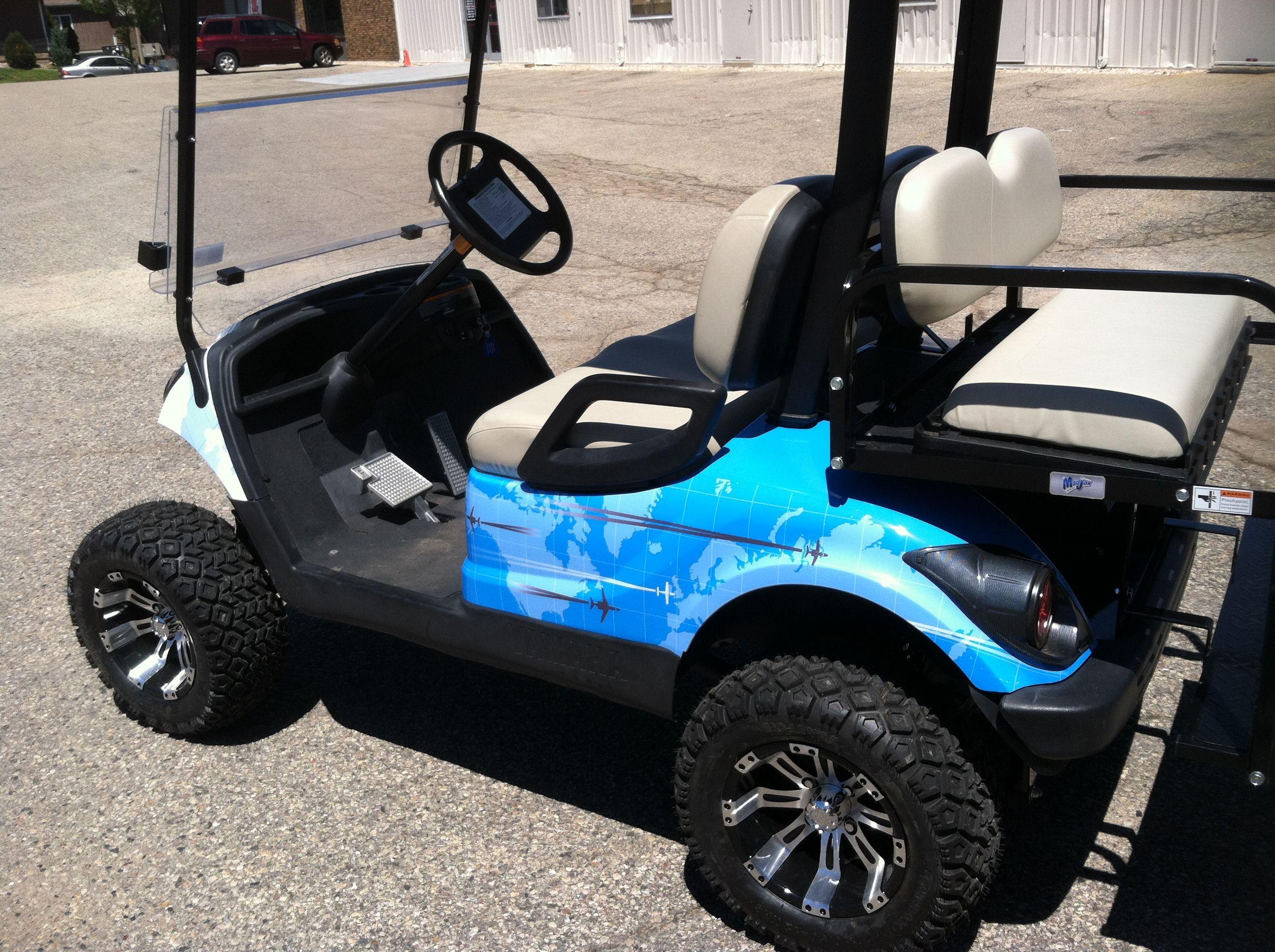 Jet Aviva Golf Cart Wrap Done By Monarch Media Designs In Madison Wi Monarchworld Com Golf Carts Car Wrap Vehicles