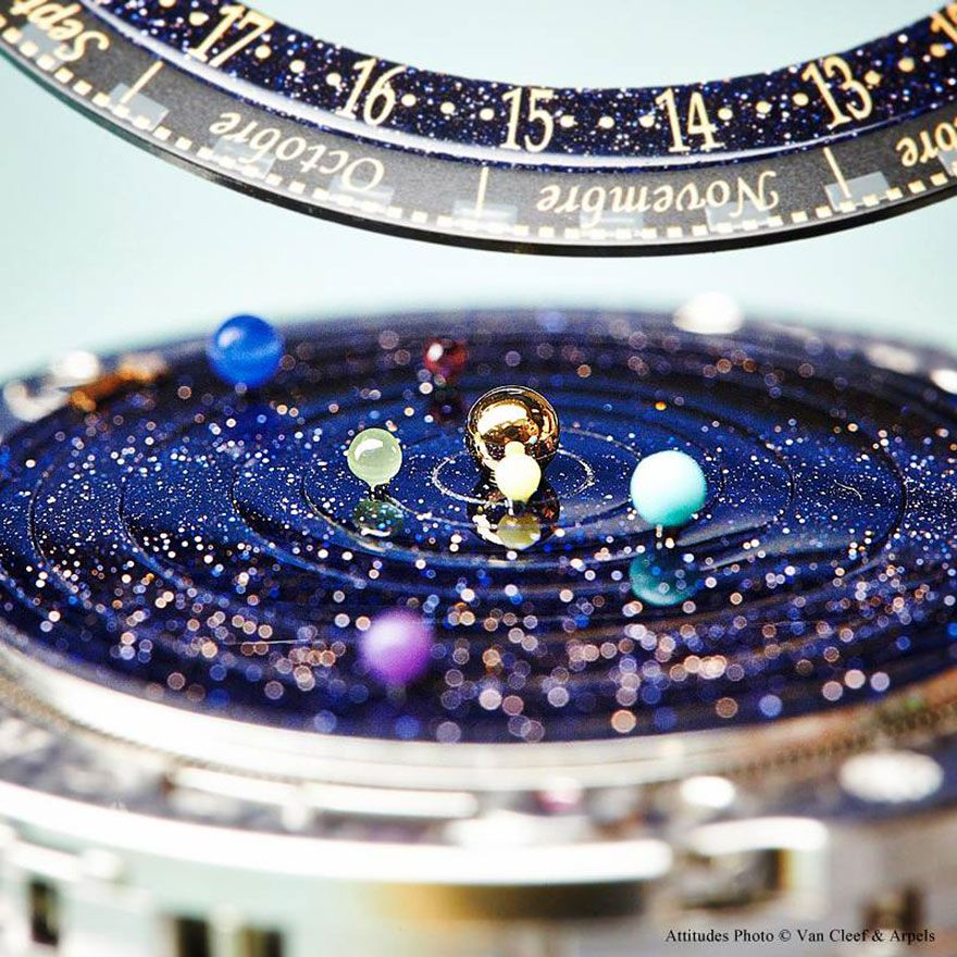 Orologio astronomico con i movimenti del sistema solare.