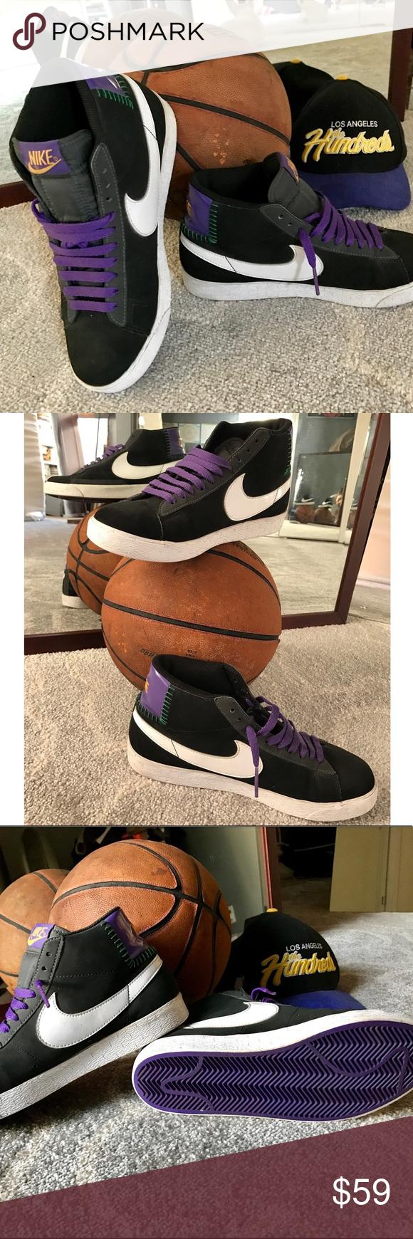 purchase cheap 47b9e 5d3be Nike Blazers Hi Black Suede w  Purple Size 7.5 Men Nike Men s Blazers Black  Sneaker. Color  Black suede with Purple Patent Leather detail on the heel.