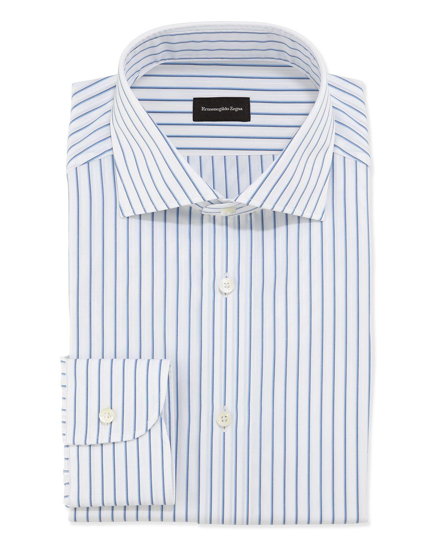 Woven Bold Pinstripe Dress Shirt Bluewhite Ermenegildo Zegna