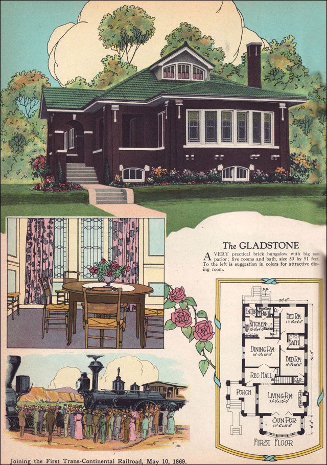 1925 Chicago Style Brick Bungalow American Residential Architecture 1920s House Plans The Gladstone by William A Radford