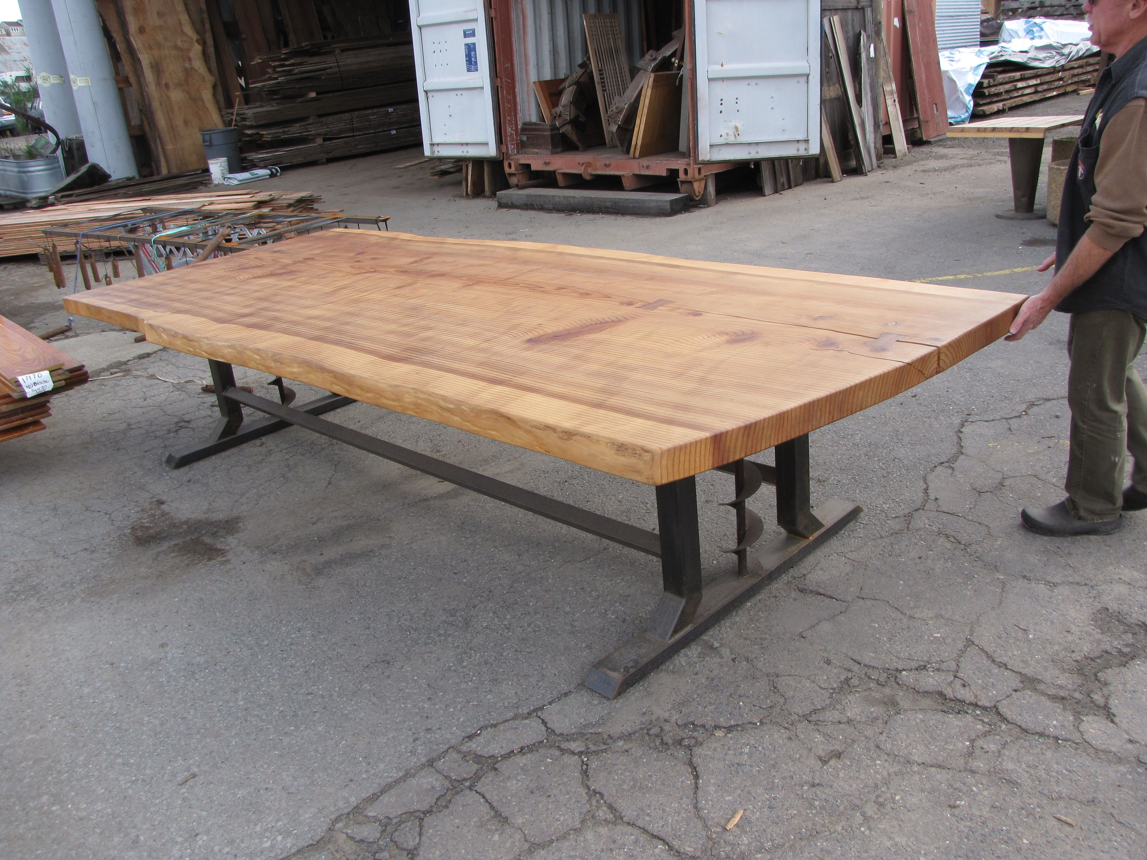 Sequoia Redwood On A Grain Auger Base Reclaimed Wood